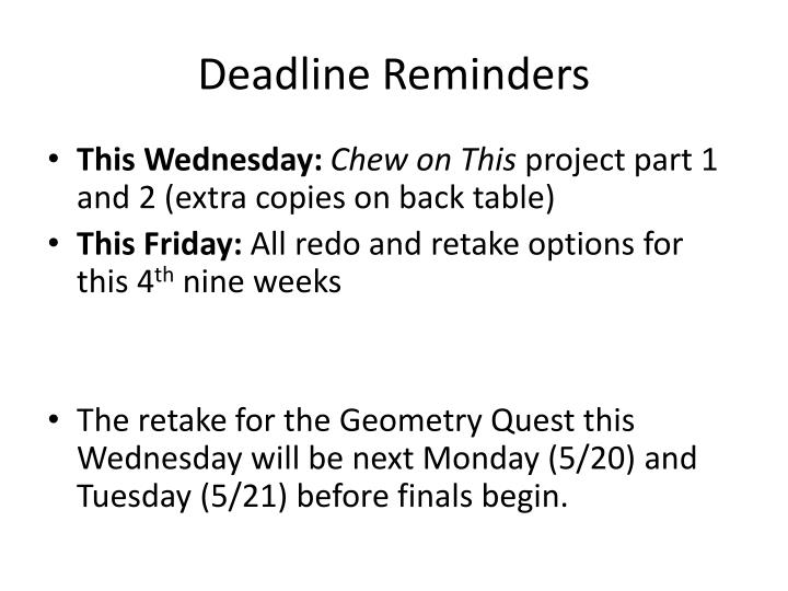 Deadline reminders