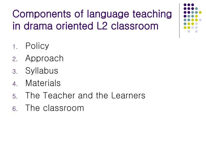 Components of language teaching in drama oriented L2 classroom