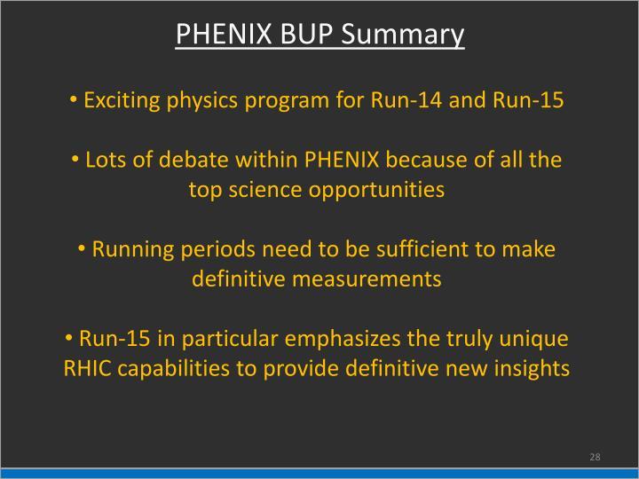 PHENIX BUP Summary