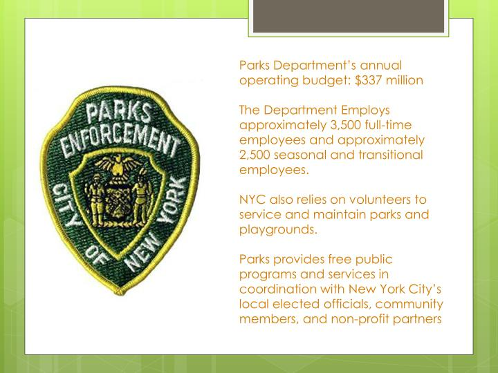 Parks Department's