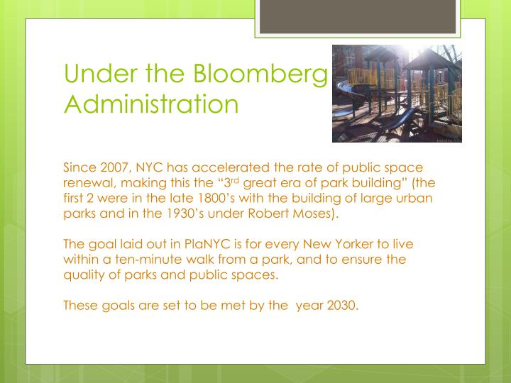 Under the Bloomberg Administration