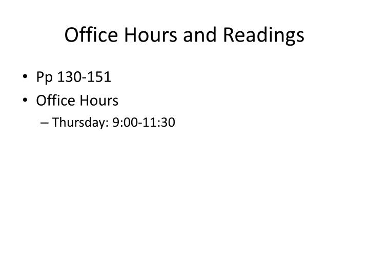 Office hours and readings
