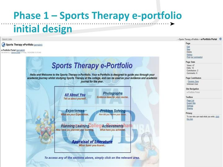 Phase 1 – Sports Therapy e-portfolio initial design