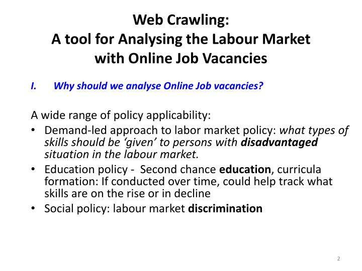 Web crawling a tool for analysing the labour market with online job vacancies1