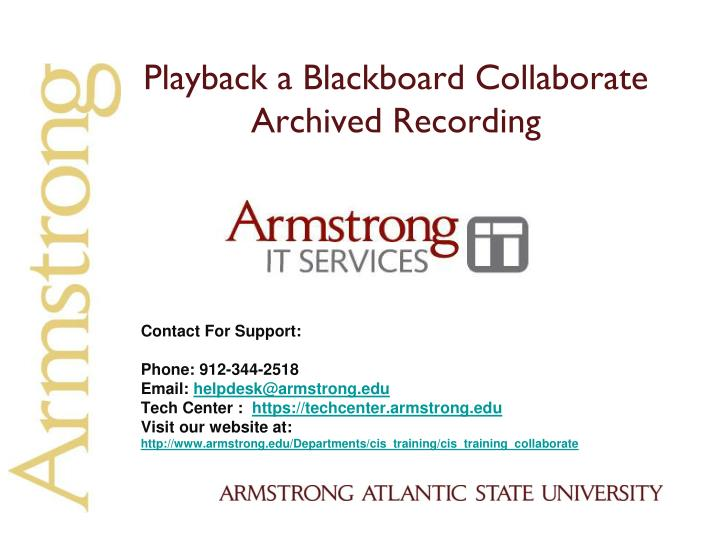 playback a blackboard collaborate archived recording n.