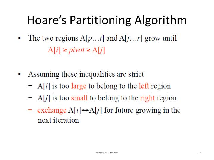 Hoare's Partitioning Algorithm