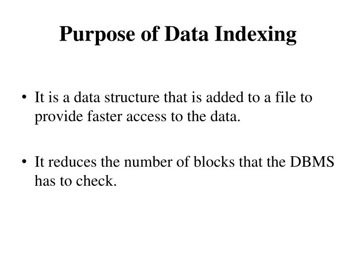 Purpose of Data Indexing
