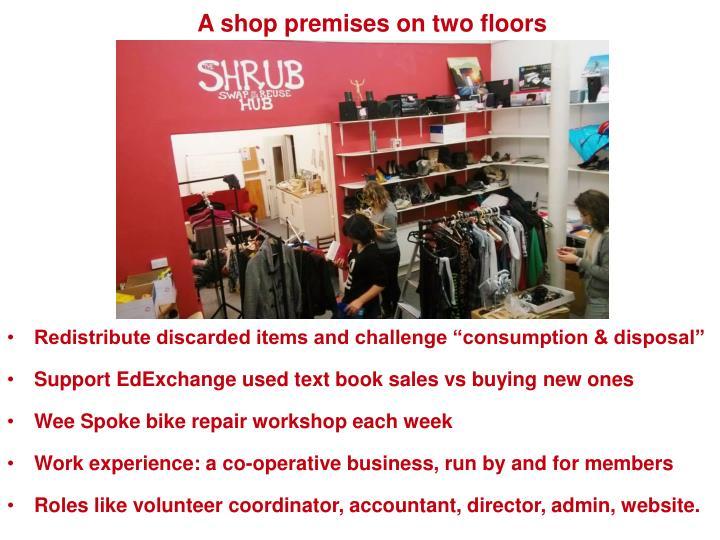 A shop premises on two floors