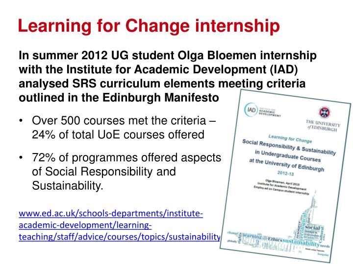 Learning for Change internship