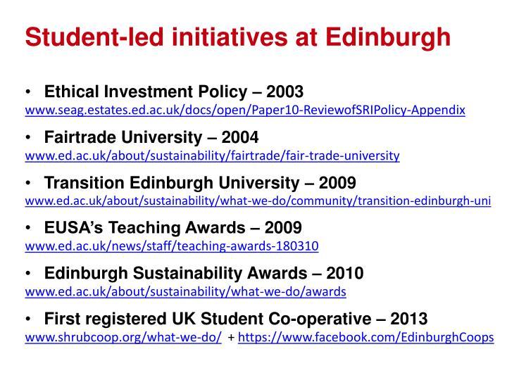 Student-led initiatives at Edinburgh