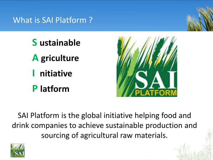 Ppt an introduction to sustainable agriculture initiative sai what is sai platform toneelgroepblik Gallery