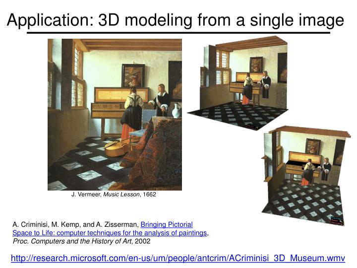 Application: 3D modeling from a single image
