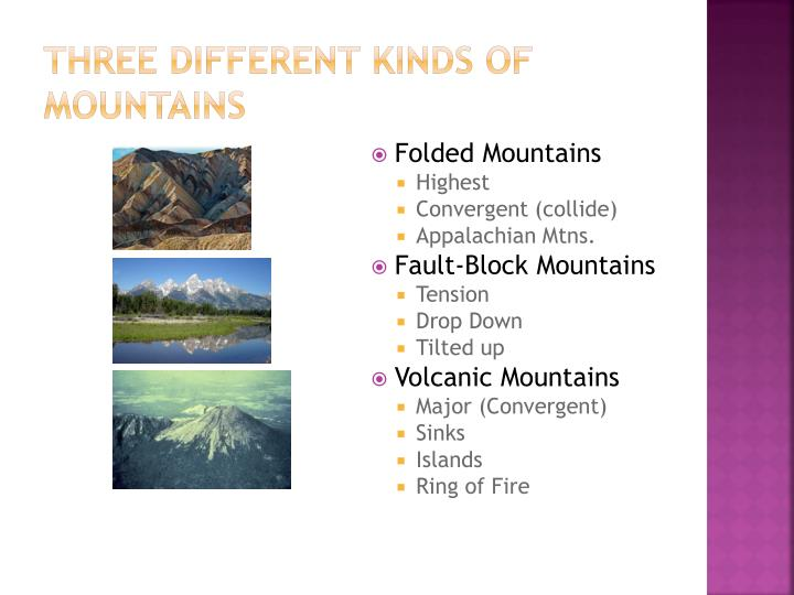 Three different kinds of mountains