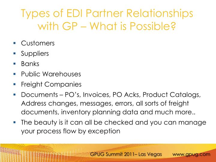 Types of EDI Partner Relationships with GP – What is Possible?