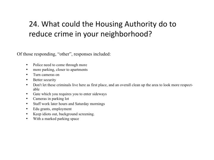 24. What could the Housing Authority do to reduce crime in your neighborhood?