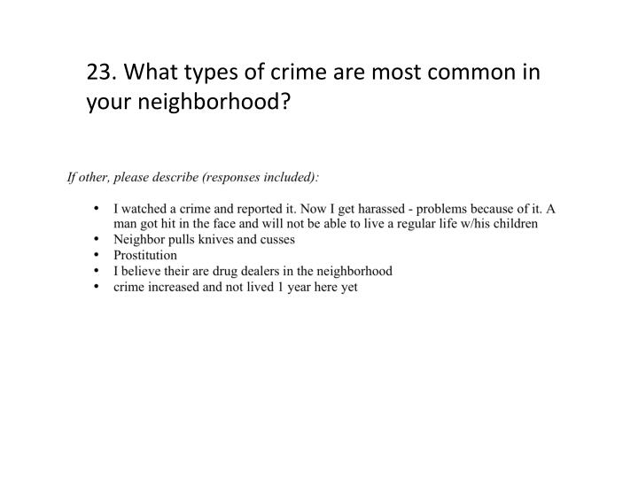 23. What types of crime are most common in your neighborhood?