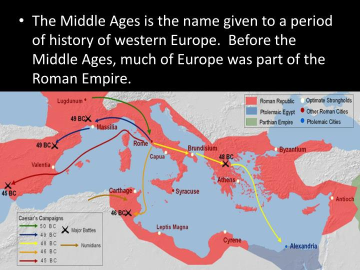 The Middle Ages is the name given to a period of history of western Europe.  Before the Middle Ages,...