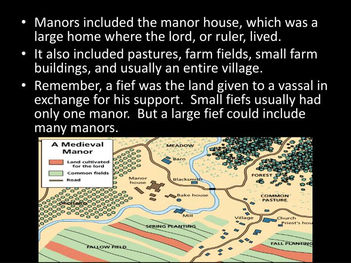 Manors included the manor house, which was a large home where the lord, or ruler, lived.