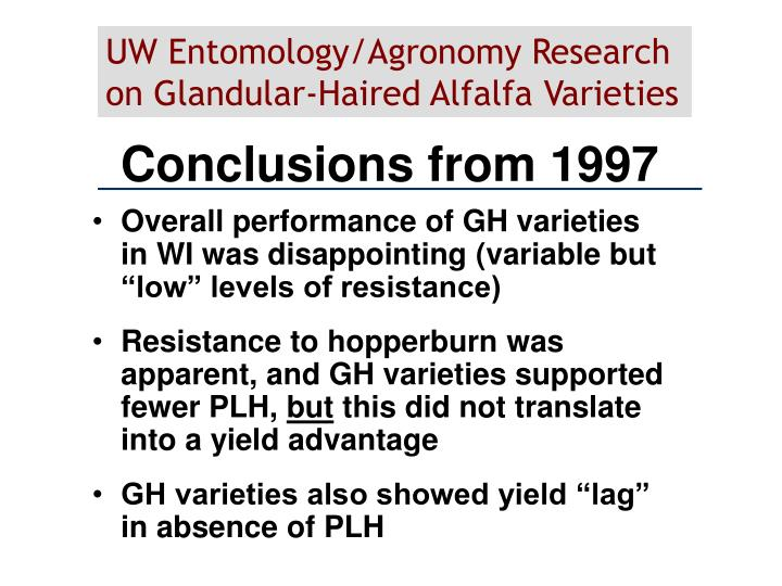 Conclusions from 1997