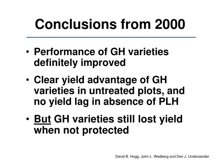Conclusions from 2000