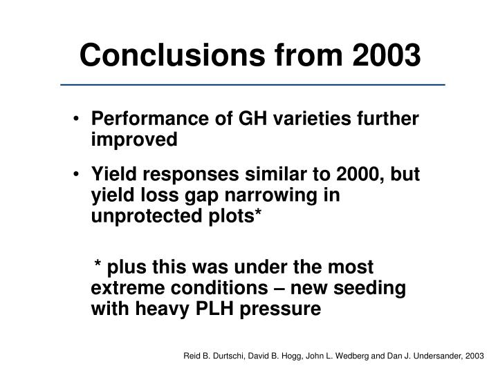 Conclusions from 2003