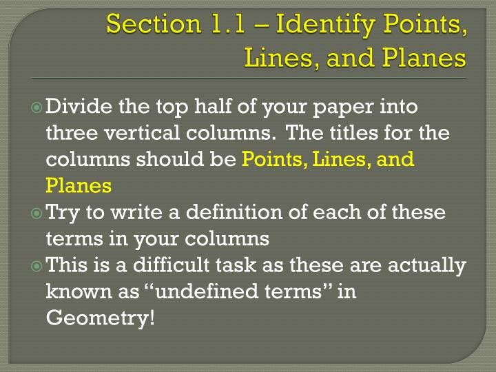 section 1 1 identify points lines and planes n.