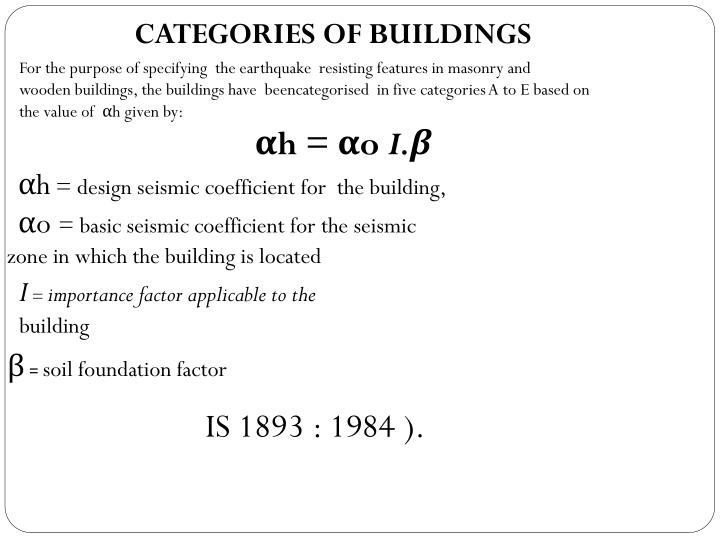 CATEGORIES OF BUILDINGS