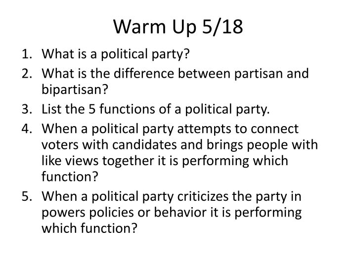 5 functions of political parties
