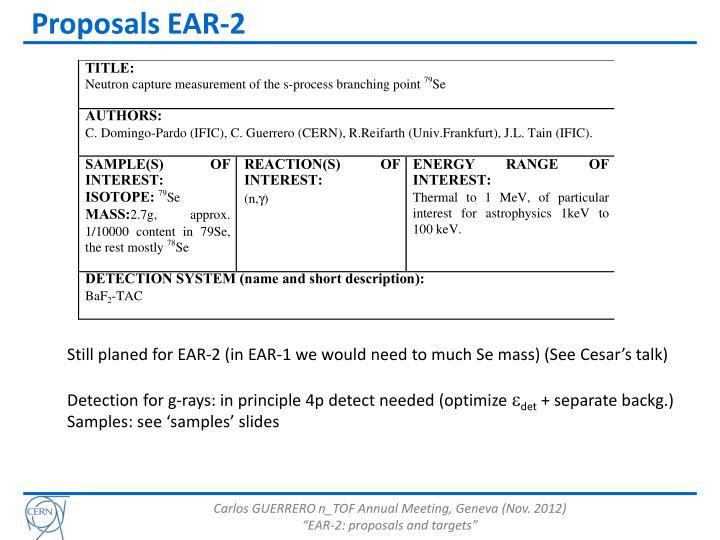 Proposals EAR-2