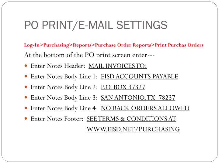 Po print e mail settings