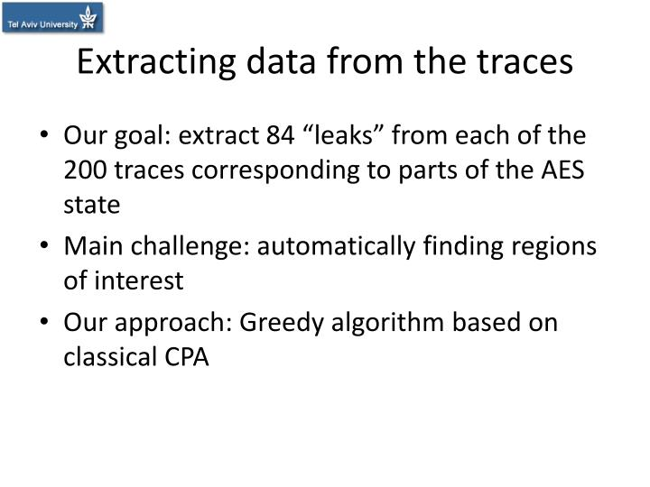 Extracting data from the traces