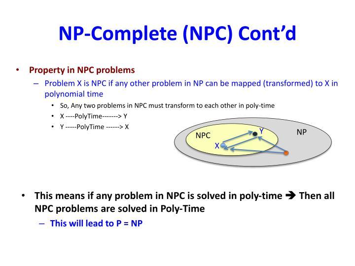NP-Complete (NPC) Cont'd