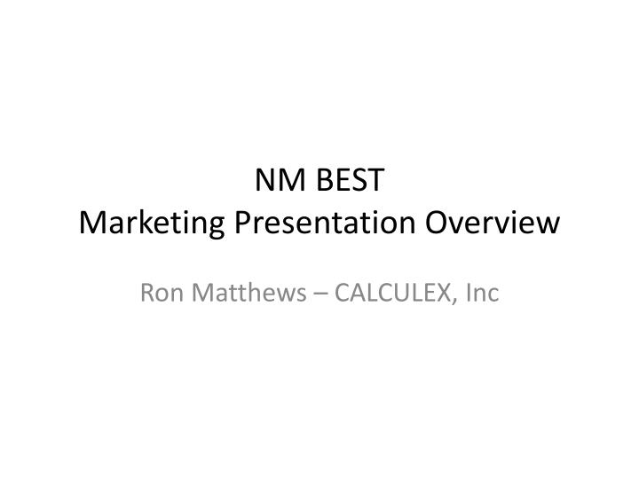 nm best marketing presentation overview n.
