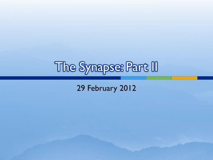 the synapse part ii n.
