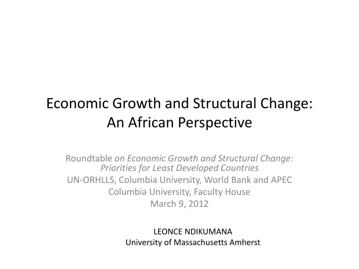 economic growth and structural change an african perspective n.