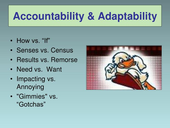 Accountability & Adaptability
