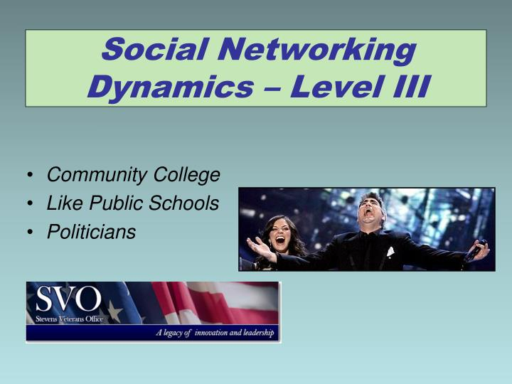 Social Networking Dynamics – Level III