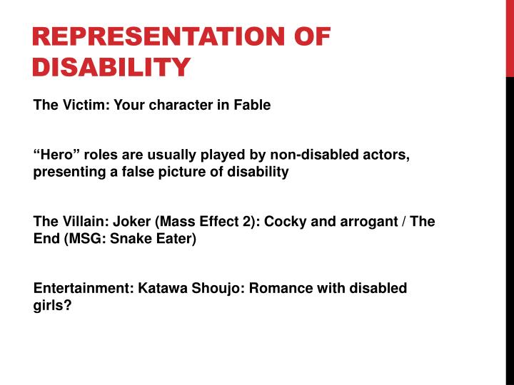 Representation of disability