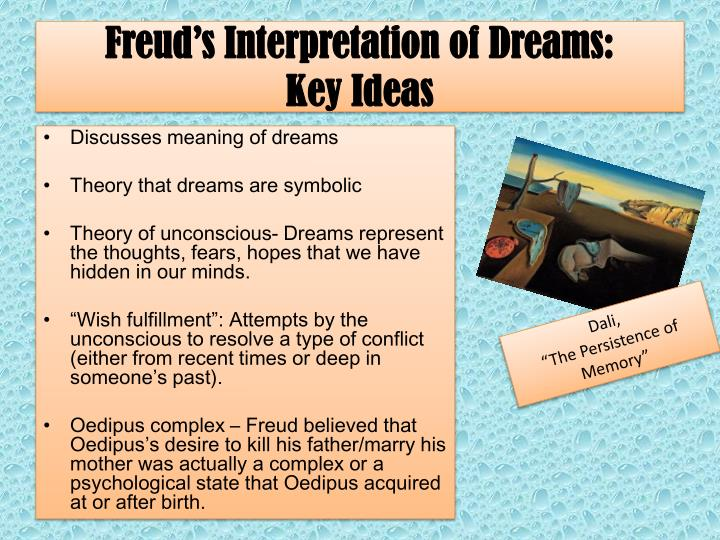 freud and his interpretations of dreams Freud's work, the interpretation of dreams, has a direct relationship to the project for a scientific psychology this work provided an outline for chapter 7, the theoretical chapter, of the dream bookthe interpretation of dreamscan be viewed as a completion of, or an alternative to, the project.