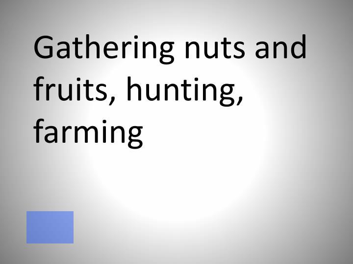 Gathering nuts and fruits, hunting, farming