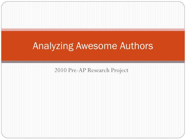 analyzing awesome authors n.