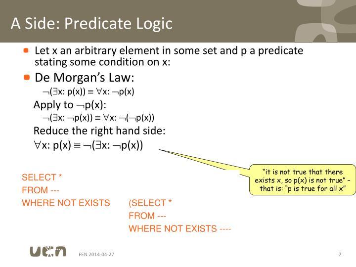 A Side: Predicate Logic