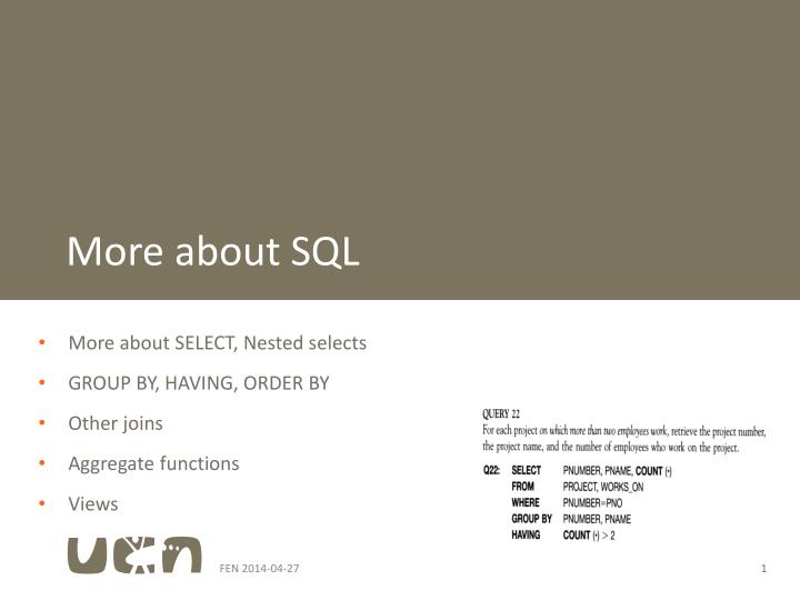 More about sql