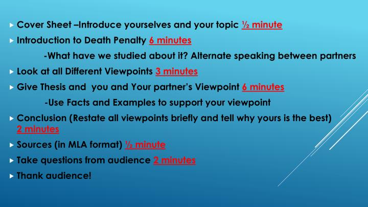 Cover Sheet –Introduce yourselves and your topic