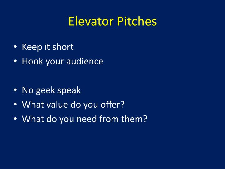 Elevator pitches1
