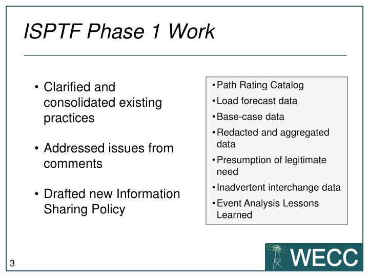 Isptf phase 1 work