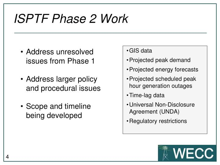 ISPTF Phase 2 Work