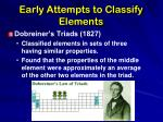 early attempts to classify elements