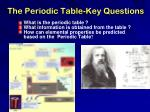 the periodic table key questions