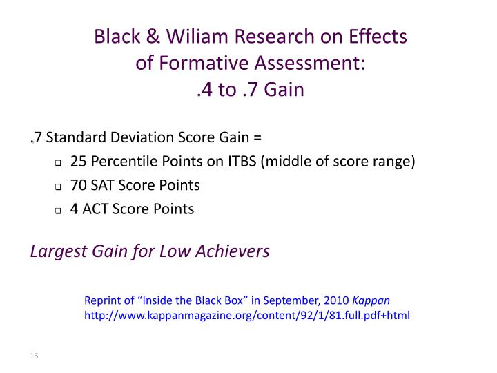 Black & Wiliam Research on Effects